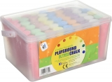 52 Piece Jumbo Colour Playground Chalk in A Plastic Container with Handle
