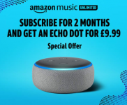 Get an Echo Dot for £9.99 instead of £49.99 when you sign up to Amazon Music Unlimited