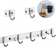 Stainless Steel Wall Mounted & Stick-on Coat Hooks Heavy Duty