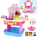 Kids Pretend Role Play Dressing Table with Carry Case 3 In 1 Make Up Set Toy for Girls