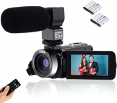 "Video Camcorder Full HD 1080P Vlogging Camera 24MP 16X Digital Zoom 3.0"" LCD 270 Degree Rotation Screen"
